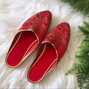 Vintage Oriental Red and Gold Mule